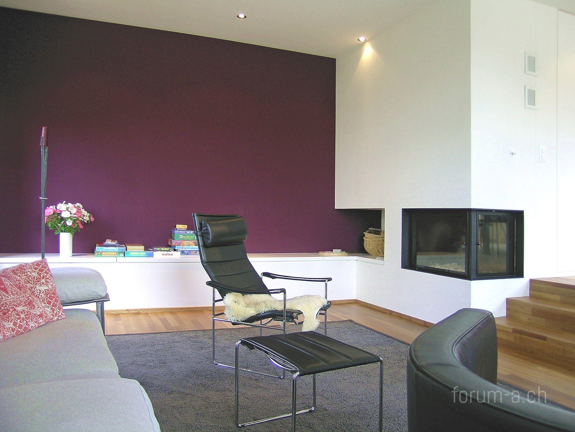 wohnzimmer wand farbig : Einfamilienhaus Wohnzimmer Wohndesign